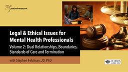 Legal and Ethical Issues for Mental Health Professionals VII - Dual Relationships, Standards of Care and Termination